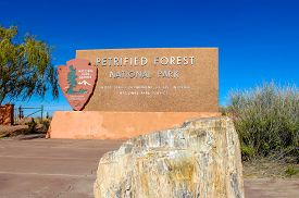 Petrifed Forest National Park Sign Off Route 66 In The Arizona Dessert - November 3, 2018