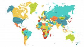 Colored World Map. Political Maps, Colourful World Countries And Country Names. Geography Politics M