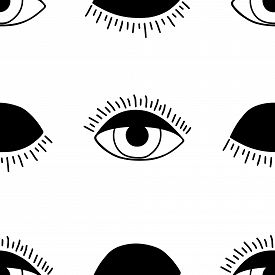 Vector Hand Drawn Seamless Pattern With Open And Winking Eyes.