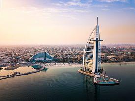 Dubai, United Arab Emirates - June 5, 2019: Dubai Seaside Skyline And Burj Al Arab Luxury Hotel Aeri