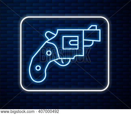 Glowing Neon Line Small Gun Revolver Icon Isolated On Brick Wall Background. Pocket Pistol For Self-
