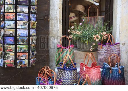 Valensole, Provence / France - May 23, 2016: Bags And Postcards In A Souvenir Shop, France, Provence