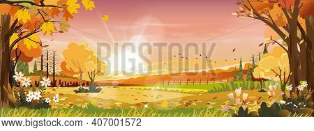 Autumn Landscapes Of Countryside In Evening Sunset With Orange And Pink Sky,morning Mid Autumn In Fa