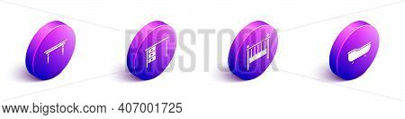 Set Isometric Wooden Table, Office Desk, Baby Crib Cradle Bed And Bathtub Icon. Vector
