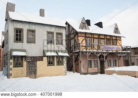 An Old Abandoned Town. Old Ruined Houses Winter Snow Covered Nature Winter
