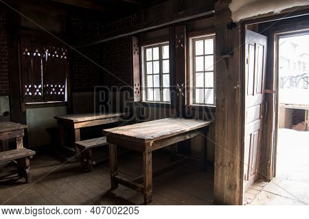 An Old Abandoned Tavern Of The Middle Ages. Empty Cafe