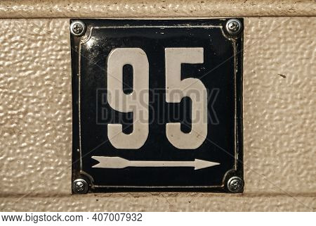 Weathered Grunge Square Metal Enameled Plate Of Number Of Street Address With Number 95