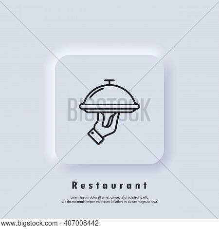Restaurant Icon. Food Tray. Catering Services Icon. Vector. Neumorphic Ui Ux White User Interface We