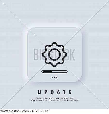 Update System Icon. Concept Of Upgrade Application Progress Icon. Loading And Gear Icon. Progress Ba
