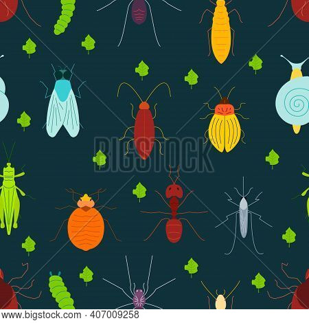 Seamless Pattern Of Pest Insects And Damaged Leaves On Dark Background. Parasitic Beetle Concept. Pe