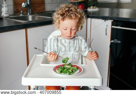 Cute Adorable Caucasian Curly Kid Boy Sitting In High Chair Eating Broccoli With Fork. Healthy Eatin