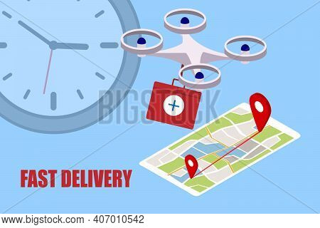 Fast Delivery Of Medicines From A Pharmacy By A Drone, An Illustration Concept Of A Modern Delivery