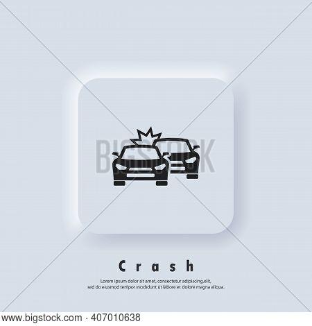 Car Crash Icon. Accident Automobile Logo. Car Crash Icons. Vector. Ui Icon. Neumorphic Ui Ux White U