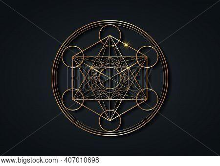 Metatron's Cube,  Flower Of Life. Gold Sacred Geometry. Mystic Golden Icon Platonic Solids Merkabah,