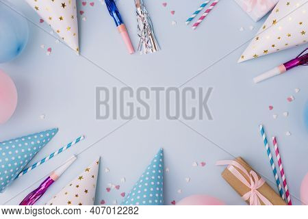 Birthday Frame Made Balloons Party Horn Blower Party Hat Sprinkles Blue Background
