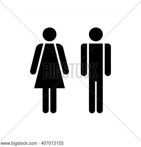Man And Woman Icon. Male And Female Sign For Restroom. Girl And Boy Wc Pictogram For Bathroom. Vecto