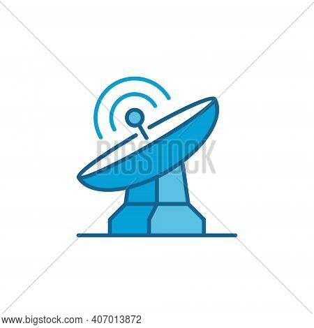 Parabolic Satellite Antenna Tower Vector Concept Colored Icon Or Logo Element