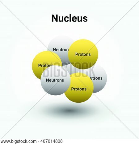 The Nucleus Of An Atom Showing Protons And Neutrons. Vector Illustration Science Diagram Positive Ch