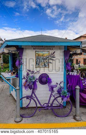 Izola, Slovenia - September 20, 2016: Lavender Souvenir Shop At The Historic Center Of Izola Old Cit