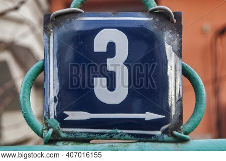Weathered Grunge Square Metal Enamelled Plate Of Number Of Street Address With Number 3