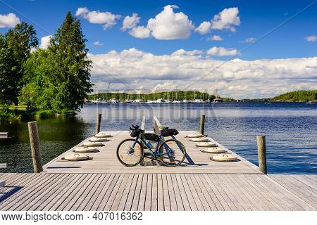 Lappeenranta, Finland - June 23, 2018: The Picturesque Nature Of Finland. Saimaa Lake, A Beautiful S