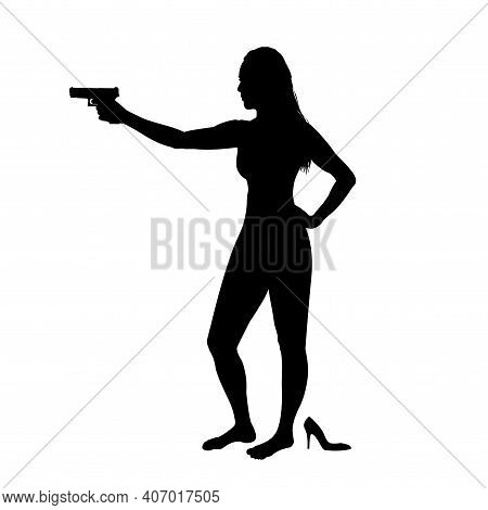 Girl Shooting, Female Isolated Silhouette. Beautiful Woman Spy In Shootout. Heroine Stands And Aims,