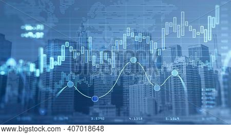 Forex Chart Over Panoramic New York City View. The Concept Of International Consulting At Nyc. Holog