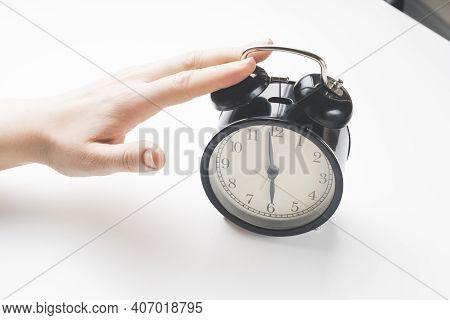 Sets The Alarm, Womens Hands Set The Time And Set The Alarm On Black Vintage Alarm Clocks , Concept,