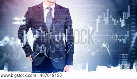 Front View Of Businessman In Suit With Hand In Pocket, Financial Graphs And Analytics For Investment