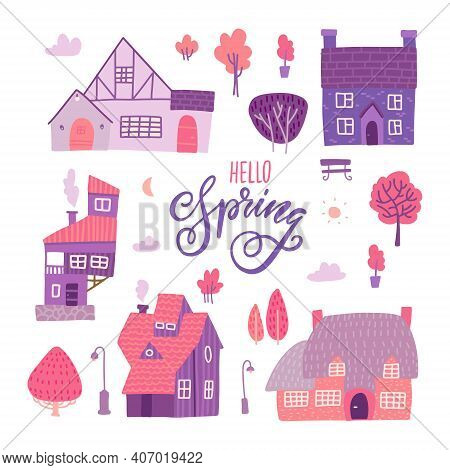 Houses For Spring Town Constructor Set. Elements For City Illustration. Buildings. Trees, Bench Icon