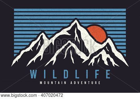 Mountain Typography Graphics For Slogan Tee Shirt With Sun And Stripes. Mountain Adventure Print For