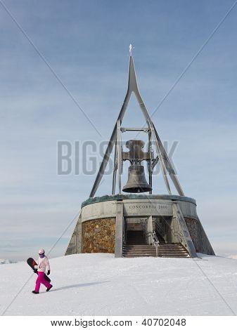 Snowboarder At Kronplatz, South Tyrol