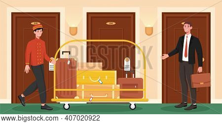 Male Porter Helps Client To Carry His Luggage To His Room. Porter In Uniform Is Roling A Cart With L