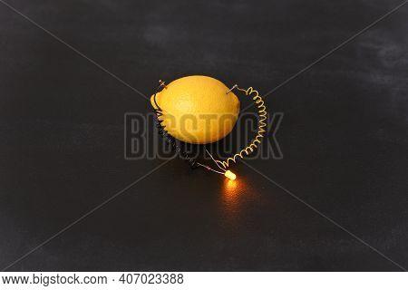 Free Energy Electricity Generator Using Lemon, Close Up.