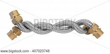Stainless Steel Flexible Hoses And Flexi Pipes, Fittings And Pressure Joints Close-up Mackro. Indust