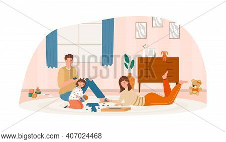 Happy Family Assembling Jigsaw Puzzle Together On The Floor. Concept Of Family Spending Cozy Time At