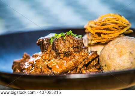 Potato Ducats With Chicken Meat.the Food In The Restaurant. Food Styling And Restaurant Meal Serving