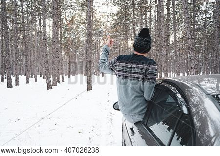 Road Travel Concept, Empty Country Road In Winter. Image Of A White Winter Mood. Winter Trip.