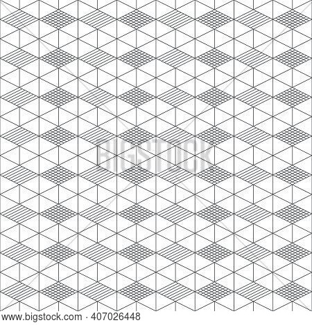 Seamless Pattern. Regularly Repeating Modern Geometrical Texture Consisting Of Linear Hexagons, Cube