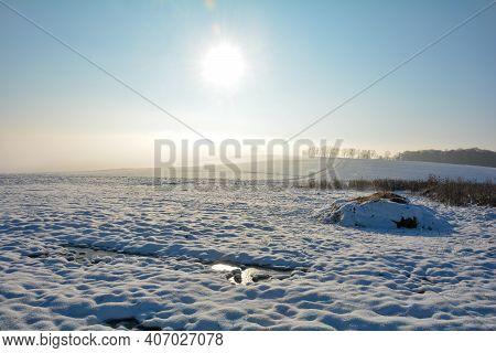Landscape With A Lot Of Snow, Fields ,frozen Spots, Sun And   Dung Heap  , Spessart, Bavaria, German