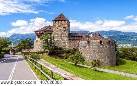 Vaduz Castle In Liechtenstein. This Royal Castle Is Landmark Of Liechtenstein And Switzerland. Panor