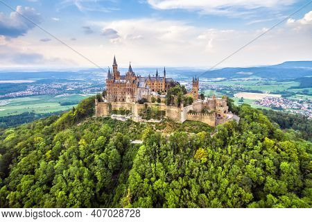 Hohenzollern Castle On Mountain Top, Aerial View Of Old German Burg In Summer, Germany. This Castle