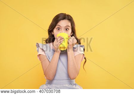 Storm In Teacup. Good Morning. Drink Enough Water. Girl Kid Hold Mug Yellow Background. Surprised Ch