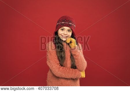 Fashion Headwear You Want To Wear. Happy Girl Smile In Warm Fashion Outfit Red Background. Winter Lo