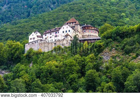 Vaduz Castle In Liechtenstein, Europe. It Is Landmark Of Liechtenstein And Switzerland. Landscape Of