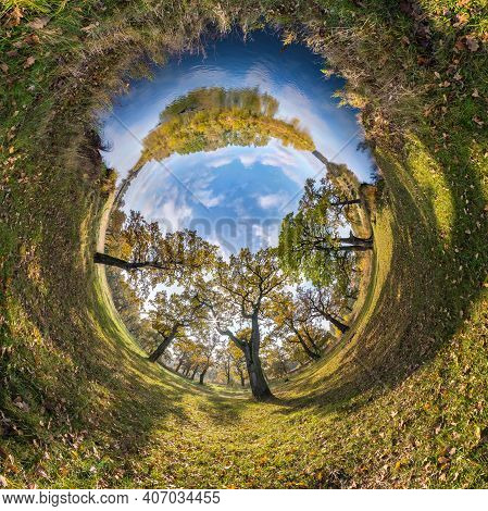 Tiny Planet Transformation Of Spherical Panorama 360 Degrees. Spherical Abstract Aerial View In Oak