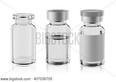 10r Vaccine Clear Glass Injection Vials Set Isolated On White Background. 3d Rendering Mockup.