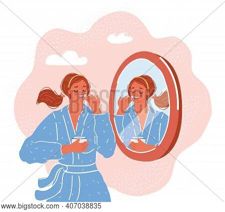 Vector Illustration Of Woman Portrait, Applying Skincare Toner And Cream On Her Face. Character Look