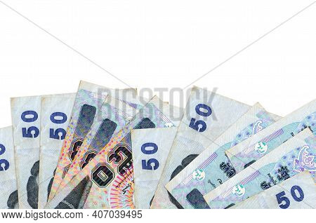 50 Thai Baht Bills Lies On Bottom Side Of Screen Isolated On White Background With Copy Space. Backg