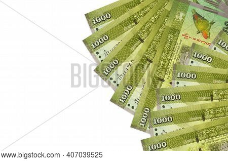 1000 Sri Lankan Rupees Bills Lies Isolated On White Background With Copy Space. Rich Life Conceptual